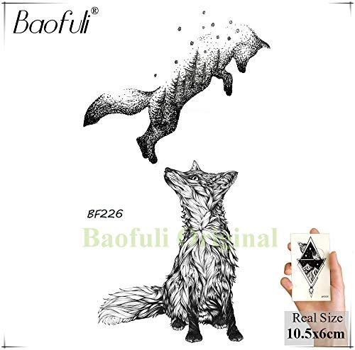 BRT Diy Geometry Animal Fox Fabrik Temporäre Tätowierung Frau Sexy Wasserdicht Einweg-schwarzer Tattoo-body-malerei Tattoo-sticker (2 Packungen) BBF226