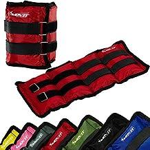 MOVIT Twin Set de pesas para muñeca / tobillo, peso del brazo, pesas de 2,0kg , Ejecución de pesas en rojo/ peso: 2x 2,0kg