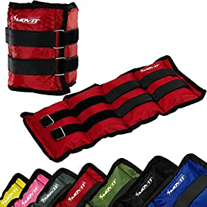 Movit 2er Set Gewichtsmanschetten für Hand- und Fußgelenke, 7 Gewichtsvarianten, Gewichte für Arme und Beine 2X 0,5kg – 2X 4 kg Gewichtsmanschette Fuß/Handgelenk