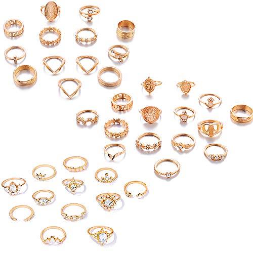 Ring Damen,Achsschenkelringsätze,Böhmischen Knuckle Ring Sets,Mode Finger Stapelbar Ringe,Ringe Perfekte Geschenkauswahl,mit Einer Exquisiten Geschenkbox (3 Sätze à 40 Stück)