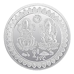 BIS HALLMARKED 99.5 Silver Purity 50 Gram Laxmi Ganesh Silver Coin For Gifting