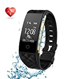 Fitness Tracker Semaco Heart Rate Monitor Wireless Smart Bracelet Waterproof Activity Tracker Pedometer Wristband Sleep Monitor Smartwatch for Android and iOS Smartphones iPhone 7 7 Plus 6 Samsung S8 (Black-gold)