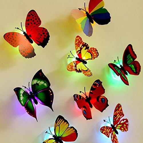DAY.LIN Liquidation 10pcs Stickers Muraux Papillon Lumières LED 3D Murale Décorative Chambre Salon TV Stickers Carrelage Autocollants Murs De Salon Accessoires de Décoratio