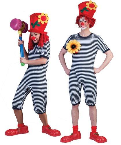 Clown Kostüm Badeanzug Blau Weiß Gr. S (Badeanzug Erwachsene)