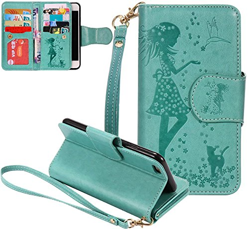 Nnopbeclik Flip Leder Hülle Für Apple Iphone 7, Folio PU Leather Wallet Blume Case mit Karte Halter-Magnetverschluß-Klappbar Stand, Drucken Mädchen-Blume-Tier-Vogel Niedlich Karikatur Cartoon Handytas Grün