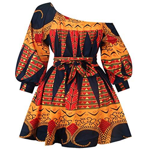 POachers Robe de Cocktail,Femme Maxi Robe Africain Imprimé Robe Epaule Dénudées Sexy Été Automne à Manches Longues Robe Chemise Loose Longue Plage Bohème Vacances Mini Robe