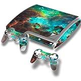 Cosmos, Autocollant Skin Peau Vinyl avec Motifs Colorés et Effet de Cuir pour PlayStation 3 Slim