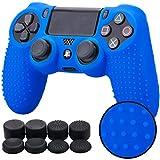Pandaren STUDDED Silikon Hülle Anti-Rutsch für PS4 controller x 1 (blau) + FPS PRO thumb grips aufsätze x 8
