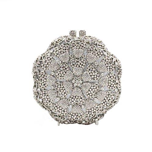 Frauen-Luxus Kristall Blume Diamanten Abend Handtasche Silver