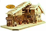Holz Weihnachtskrippen + Zubehör, KA70na-MF-BRK,MIT BRUNNEN + BELEUCHTUNG (LED Brunnenlicht) ÖLBAUM mit hochwertigen PREMIUM Krippenfiguren / FARBIG HANDBEMALT, NATUR/leicht geflammt/gebrannt 12er SET in edler Echtholz-Optik, mit Josef, Maria, Jesuskind in der Krippe, 3 Königen aus dem Morgenland - saubere Gesichtszüge , feine Mimik, Zubehör für Weihnachtskranz Weihnachtkrippen Spielkrippen Krippenspiel, Licht Beleuchtung als Krippenzubehör - Krippenspiele basteln bauen