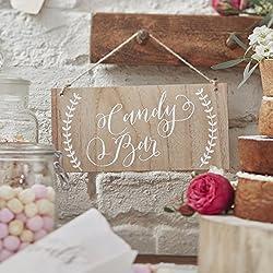 """Ginger Ray Letrero decorativo de madera para colgar con mensaje """"Candy Bar"""", Boho"""