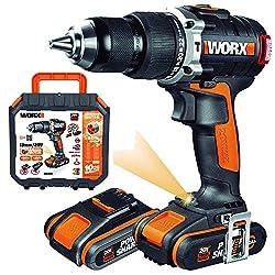 WORX WX373 Akku Schlagbohrschrauber Set - Bürstenloser Akkuschrauber 20V, 2 Li-Ion Akkus, Koffer & Schnell-Ladegerät - 60Nm, 2-Gang-Getriebe & LED-Licht - zum Schrauben, Bohren & Schlagbohren