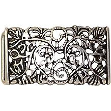 18057 4 cm Damen Trachten Schnalle Blumenmuster Silber Fronhofer G/ürtelschnalle 35 mm florales Muster