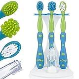 Nuby 5-teiliges Zahn- und Zahnfleisch Pflegeset für Baby und Kleinkind Zahnbürste Zahnfleischbürste mit Ständer