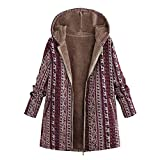 TianWlio Jacken Parka Mäntel Herbst Winter Warme Jacken Strickjacken Damen Übergröße Lange Ärmel mit Kapuze Baumwolle Leinen Flauschigen Pelz Zipper Coat Outwear rot L
