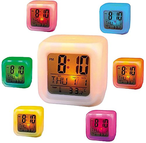 Moradiya Fresh Multicolor Cube LED 7 Color Changing Digital Alarm Clock  available at amazon for Rs.498
