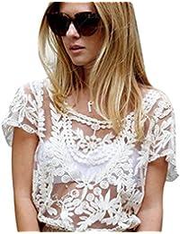 Wuiyepo Femmes Floral Semi Sheer shirt à manches T-shirt en dentelle au crochet Top Blouse