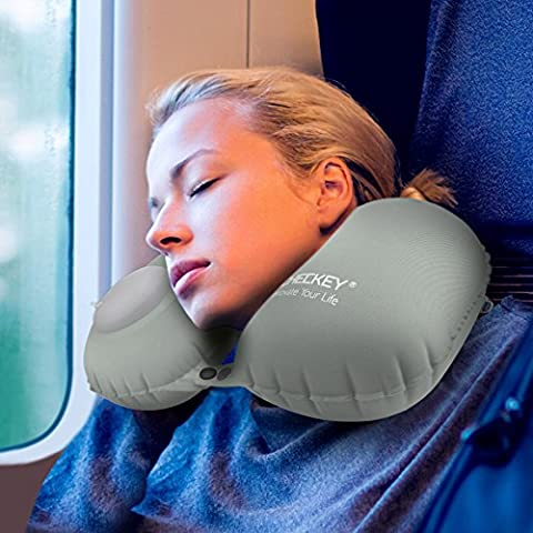 ICHECKEY Travel Neck Pillow U Shaped Inflatable Portable Head & Neck Supporting Air Pillow - Gray