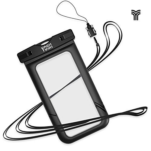 Preisvergleich Produktbild YOSH Wasserdichte Handyhülle universal Tasche für iPhone X/8/7/6/6s Plus für Samsung S9/S8/S7/S6/S5/A5 Huawei Wasser-, Staub-, schmutz-, schneegeschützte Hülle, für Handys bis zu 6 Zoll (Schwarz)