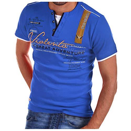 Realde Herren Langarm Hemd und KurzarmT-Shirt Cool Briefdruck Mehrfache Farben V-Ausschnitt Langarmshirt Passt super auch zur Jeans Männer BequemTops Oberteil Größe S-XXXL