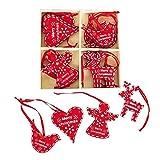 Traditioneller Weihnachtsbaumschmuck zum Aufhängen aus Holz, 16 Stück, Herz, Engel, Vogel und Rentier, Rot