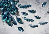 wandmotiv24 Fototapete Pfau Feder Muster M 250 x 175 cm - 5 Teile Fototapeten, Wandbild, Motivtapeten, Vlies-Tapeten Vogel, Tiere, Natur M1107