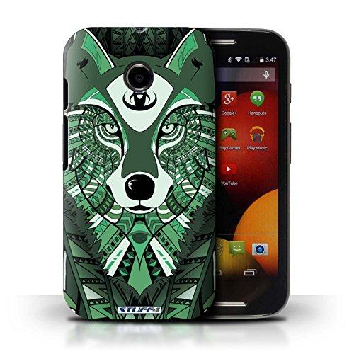 Kobalt® Imprimé Etui / Coque pour Motorola Moto E (2014) / Loup-Couleur conception / Série Motif Animaux Aztec Loup-Vert