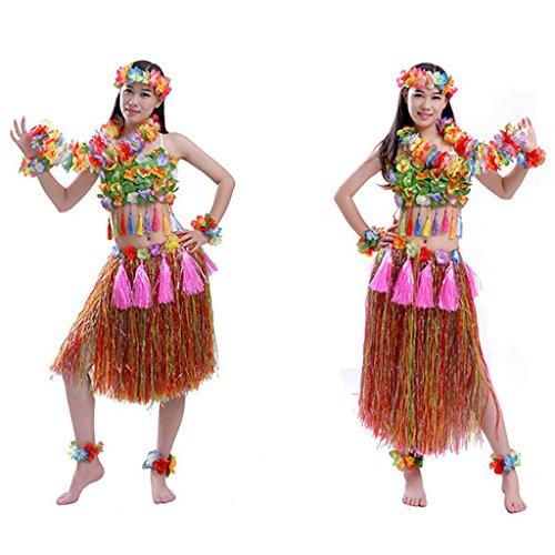 MagiDeal-Set8pcs-Falda-de-Danza-de-Hierba-Hula-Hawaiana-de-Mujeres-Pulsera-de-ManoDiadema-de-Pelo-para-Fiesta-de-Halloween-Disfraz
