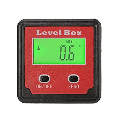 XCSOURCE Jauge d'Angle LCD Numérique Angle Rapporteur Chercheur D'Angle Biseau d'Inclinomètre Boîte de Niveau Base Magnétique avec Sac de Rangement BI734