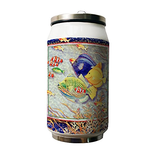okoukiu Fische unter Sea Wort Double Vakuum Isoliert Edelstahl Coke Dosen Wasser Flasche, 280ml–personalisiertes Geschenk für Geburtstag, Weihnachten und neues Jahr (Coca-cola-flaschen Deckel)