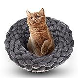 yunt Katze Nest, aus Wolle Hand stricken Katze Betten Haarverdichtung Wolle Schlafsack Herbst Winter Warm Pet bett Höhle