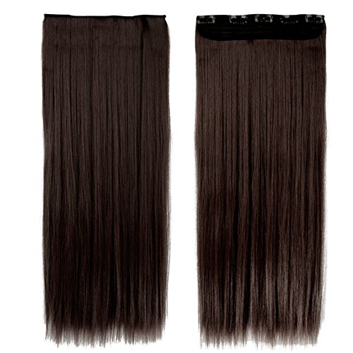 Synthetic Hair Extensions For Women + 1 Rose Clip Free - Dark Brown