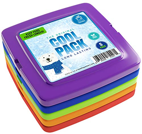 xtra Dünnen Format für Lunchboxen - Schnell gefrierend und langanhaltende Kühlleistung - Tiefkühlakkus für Kühltaschen - Originale Langanhaltende Formel - (Set enthält 5 Stück) ()