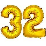 DekoRex® Folienballon Zahlenballon Luftballon Geburtstag Deko 80cm Zahl Gold 32