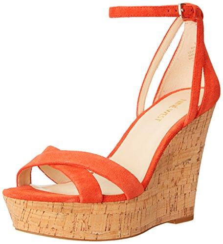 Nine West Joker Sandales compensées en daim Red/Orange