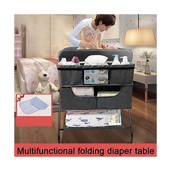 MUBAY Home Care Folding Table With Storage Basket and Shelf Baby Care Table, Baby Changing Table Baby Bathing Table Massage Touch Table Can Be Folded (Color : Blue) MUBAY Infant Changing Table Material: PU Oxford cloth + iron pipe. Baby Changing Table can be used as baby massaging table as well. It offers the comfort and practicality. It is designed at the proper height of parent to prevent mom's back aches and pains from kneeling or bending when changing diapers to babies. It has open shelving which adds extra security. Changing Diaper Station Stable Construction - Non-skid feet covers and a sturdy frame keep the table stable and prevent movement. All our products are designed with the safety of your little ones in mind. 2