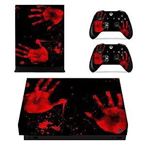 eXtremeRate Xbox One X Designfolie Sticker Aufkleber Skin Set, 1 Konsole Folie, 2 Controller Stickers, 2 stück Home Button Stickers für Xbox One X(Handabdruck)
