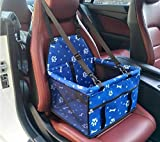 xueyan& Pet Car Booster Seat Breathable Waterproof Pet Dog Car Supplies Travel Pet Car Carrier Bag Seat with Safety Leash for Small Dogs, approx. 5kg pets, blue bone footprint gg1503b