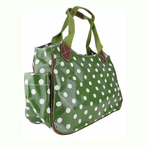 Miss Lulu femmes filles fleurs Chouette à Pois en toile cirée Motif chien Scottie Sac fourre-tout de voyage sac à main - Polka Dots Green