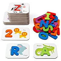 GoGlor Baby Alphabet Flash Cards With Letter & Number Wooden Blocks, Develop Shape And Colour Recognition, 3D Large Alphabet Letters Montessori Learning Toys
