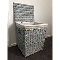 Home Delights Extra Large Family Sized Grey Wicker Laundry Basket Rattan Shabby Chic Distressed Rustic Finish