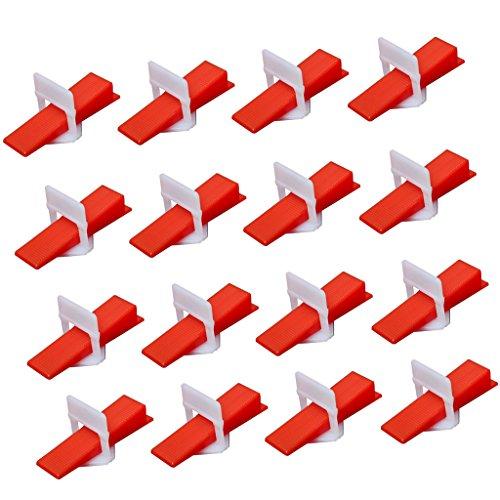 Gazechimp 100 Stück Praktisch Kunstoff Fliesenverlegung Fliesen Verlegehilfe Nivelliersystem Zuglaschen+Keil