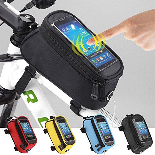 Brave Pioneer Fahrradtasche mit Handyhalter Rahmentasche lenker Oberrohrtasche bicyclebag fahrräder Schwarz