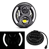#3: Trustway HL-02 Bike Duel Half Curve 6 Led Headlight Waterproof with Dual DRL Color High & Low Beam 7 Inch Daymaker Round LED Creed Projector Black & White for Royal Enfield Bullet Electra Deluxe