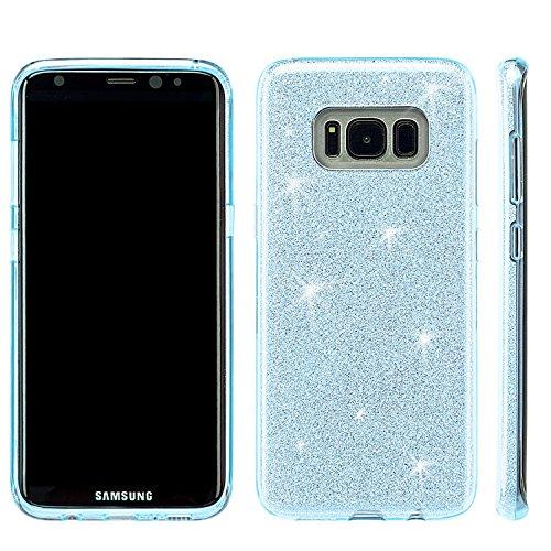 Galaxy J7perx Fall, Galaxy J7Sky Pro Fall, Galaxy J7V Fall, starshop TPU Crystal Skin Cover Schutzhülle mit Glitzer Papier mit [Premium HD Bildschirmschutz im lieferumfang Enthalten], Blau Crystal Papier