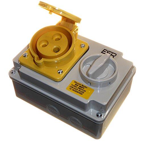 32Amp 110V 3Pin Interlock Sockel Schalter 2P + E 1Phase gelb -