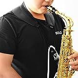 Saxophon Nackengurt mit Swivel Haken, atmungsaktive Baumwolle & Echt Leder, Schwarz