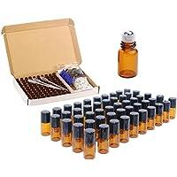 Paquete de 100 botellas de rodillos ámbar de 2 ml (5/8 dram) de cristal roll-on botellas de viales de muestra con bolas de metal para aceite esencial, perfume, aromaterapia, abridor de botellas, pipetas