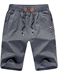 JustSun Mens Casual Sports Joggers Shorts with Elastic Waist Zipper Pockets