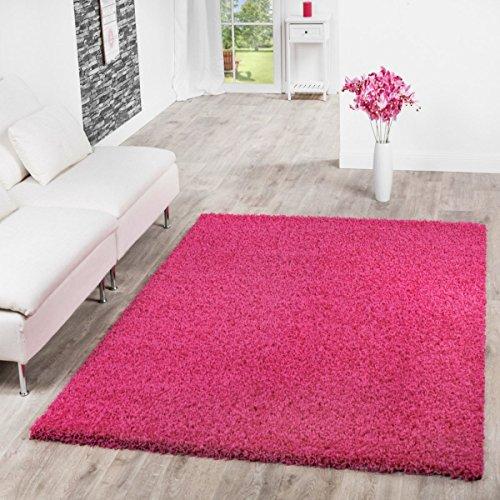 (T&T Design Shaggy Teppich Hochflor Langflor Teppiche Wohnzimmer Preishammer versch. Farben, Größe:100x200 cm, Farbe:pink)